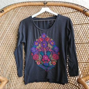 LUCKY BRAND BOHO EMBROIDERED TOP L